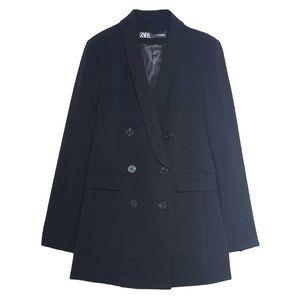 Zara Tuxedo blazer double breasted black LARGE